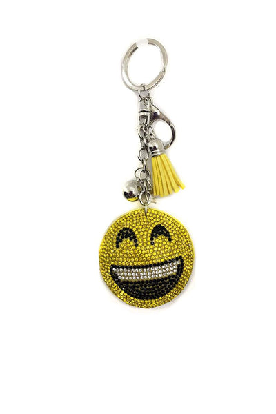 Emoji Smiley Face Rhinestone DIAMANTE Keyring Bag Charm Key Chain 1