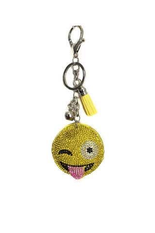 Emoji Smiley Face Rhinestone DIAMANTE Keyring Bag Charm Key Chain 6
