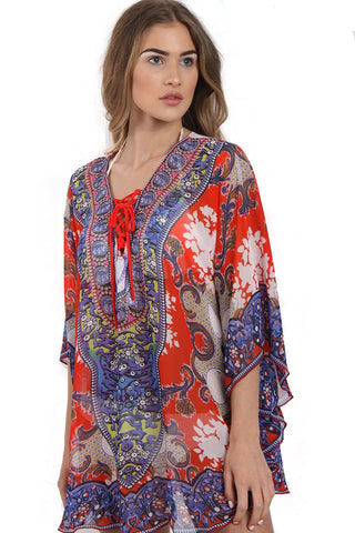 Lace Up Jewel Tribal Abstract Print Kaftan Top With Curved Hem