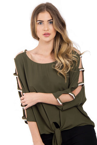 Cut Out Sleeves Top with Tie Front
