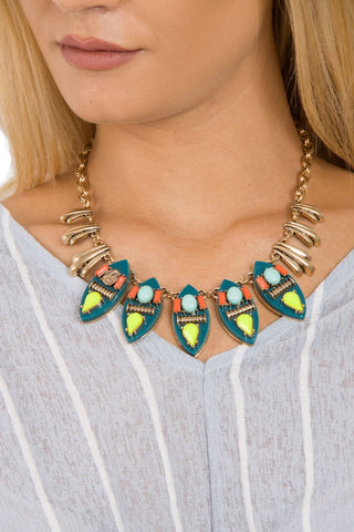 Colourful Tribal Gem Statement Necklace 2