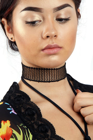 Black Lattice Fabric Choker