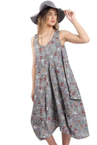 Grey Flower Print Drawstring Oversized Dress