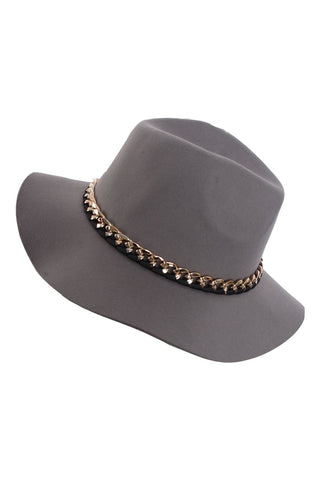 Felt Fedora Chain Detail Hat