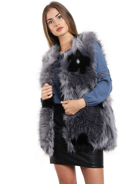 Flower Faux Fur Gilet