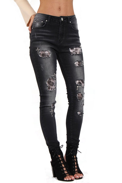 Sequin Leopard Print Ripped Knee High Waist Skinny Jeans