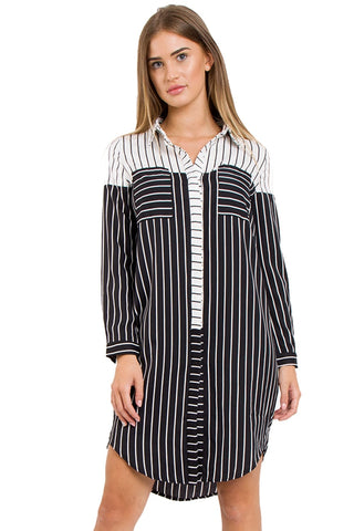 Black and White Striped Longline Shirt With Split Side