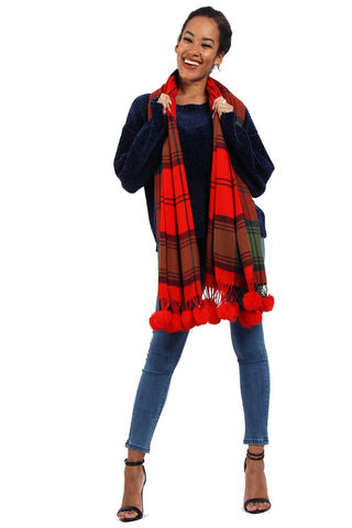 Christmas Red Tassel Trim Rabbit Fur Pom Pom Check Tartan Scarf
