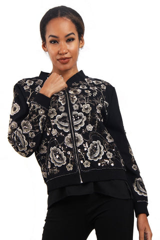 Grey Embellished Floral Design Bomber Jacket