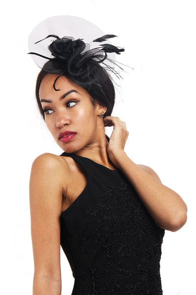 Black Flower Net fascinator