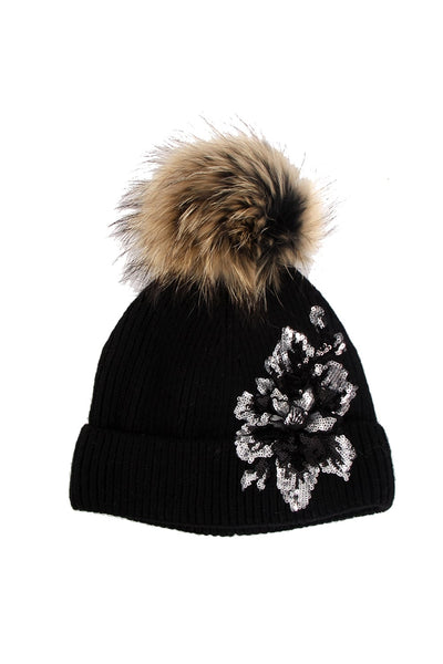 Flower Sequins Embellished Detachable Fur Pom Pom Bobble Beanie Hat