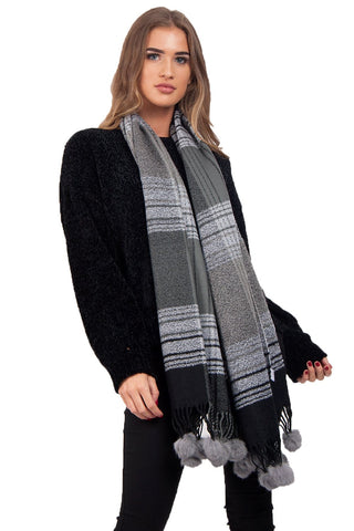 Grey Tassel Trim Rabbit Fur Pom Pom Check Tartan Scarf