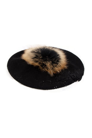 Detachable Fur Pom Pom Wool Beret Hat with Diamante Flower Embroidered Detail