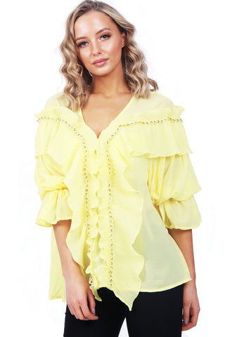 Womens URBAN MIST Oversized Ruffle Neck and Ruffle Sleeve Summer Top Dress