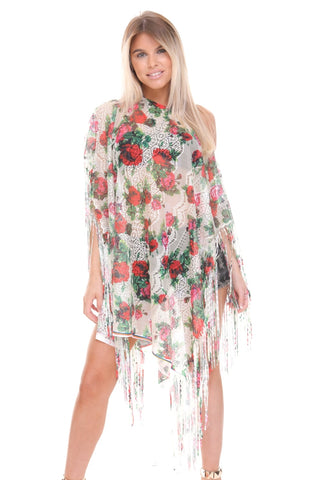Floral Print Sheer Tassel Trim Holiday Kaftan Top