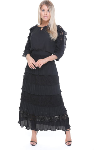 d85dee2d9 Lace Pleated Ruffle Maxi Skirt and Blouse Top Co-Ord Set
