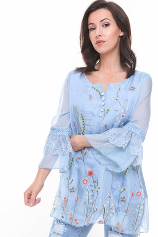 Lace insert Floarty Ruffle Sleeve Floral Embroidered Button Blouse Top