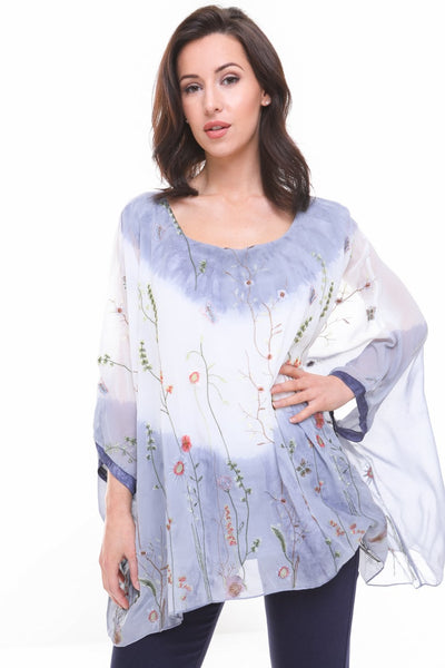 Oversized Tie Dye Floral Embroidered Floaty Sleeve Blouse Top