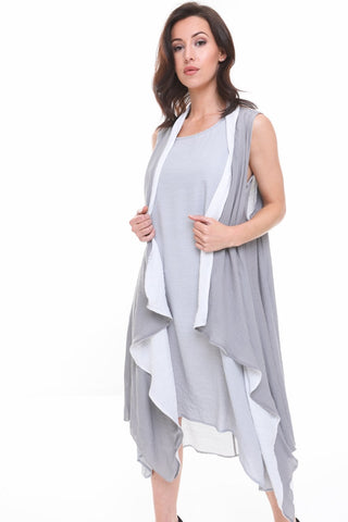 Double Layered Waterfall Floaty Sleeveless Waistcoat Jacket