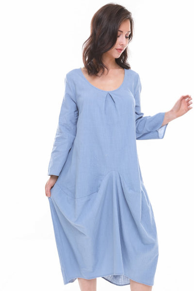 Oversized Tulip Style Floaty Style Tuck Design Pockets Dress