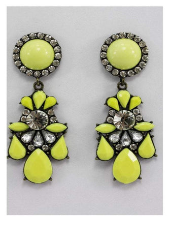 Circle Jewel and Diamante Earrings in Yellow