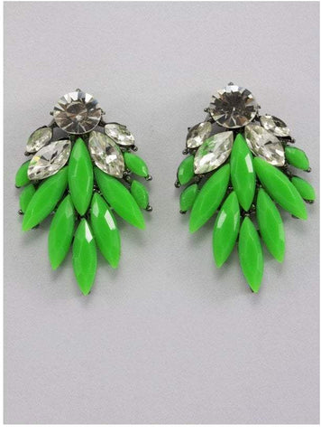 Falling Leaf Jewel and Diamante Earrings 1
