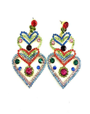 Diamante Heart Earrings 2