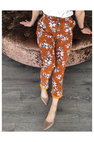 Brown Lily Print Frill Hem Trousers