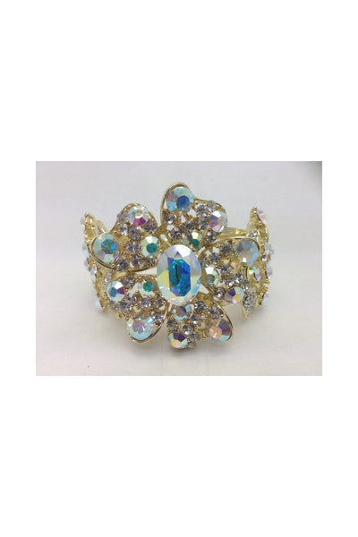 Flower Diamante Crystal Open Cuff Bracelet 4