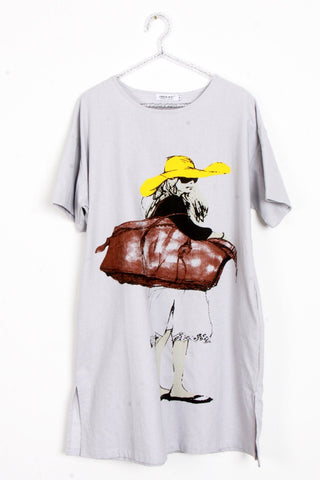 Woman Illustration With Hat print T-Shirt Dress