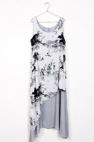 Black and White Wildlife Print Floaty Tunic Maxi Dress