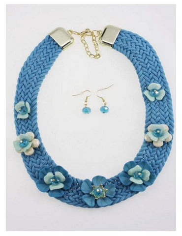 Woven Chunky Flower Necklace and Earring Set