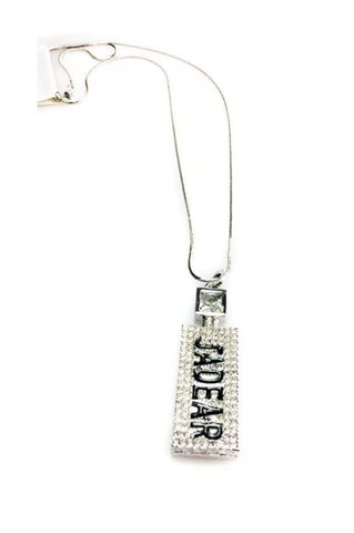 Diamante Perfume Bottle Chain Long Necklace
