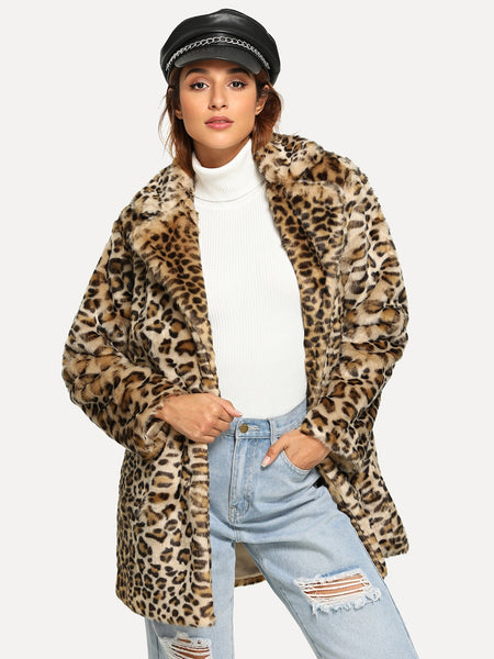 Notch Collar Leopard Faux Fur Biker Coat