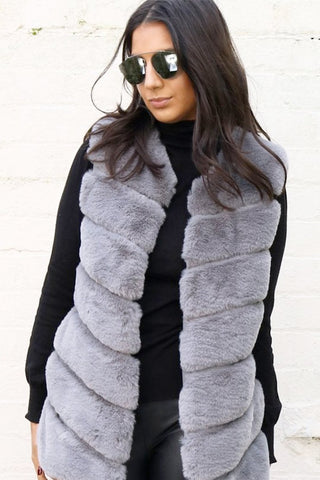Longline Ultra Soft Faux Fur Leather Panelled Gilet