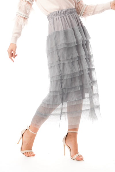 Layered Tulle Mesh Long Skirt