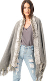 Fur Cashmere & Wool Shawl Wrap in light Grey