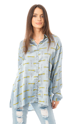 Oversized Chain Print Shirt in Powder Blue