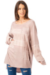 Long Sleeve Knitted Top with Diamante Mesh Patchwork in pink