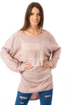 Long Sleeve Knitted Top with Diamante Mesh Patchwork