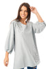 Long Sleeve Tunic Top with Floral Embroidery in light grey