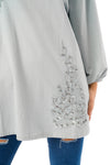 Long Sleeve Tunic Top with Floral Embroidery