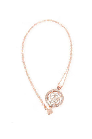 Diamante Flower Charm Pendant Long Necklace