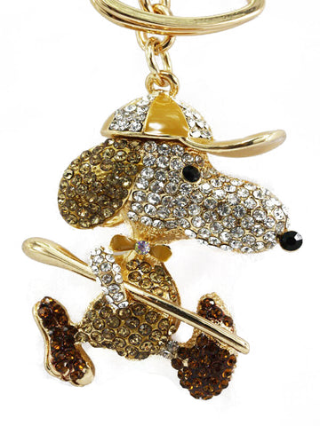 Snoopy Dog Diamante Bag Charm Keyring