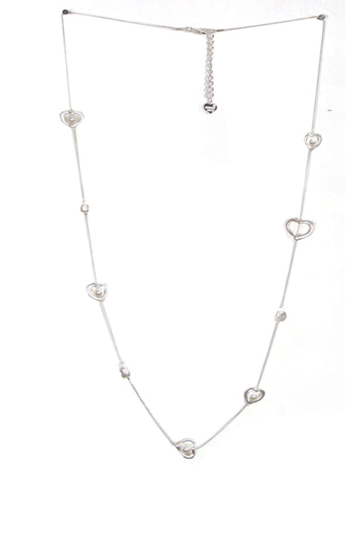 Multiple Heart And Pearl Long Necklace