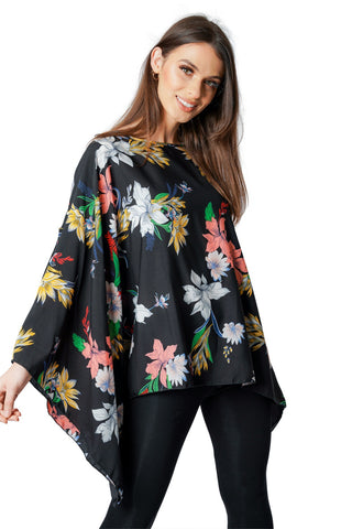 Black Floral Big Print Women Kaftan
