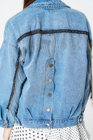 Oversized Denim Blue Beaded Fringe Button Up Jacket