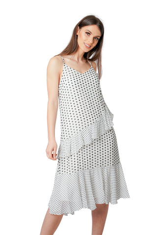 Polka Dot Ruffle Chiffon Floaty Dress