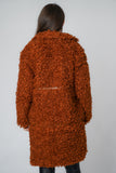 Soft Sheep Faux Fur Coat with PU Detail