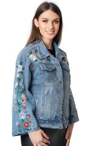 Denim Blue Floral Embroidery Flare Sleeve Jacket